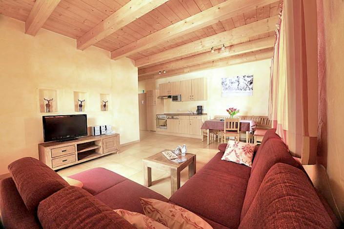 Ferienwohnung mit Holzdecke, Couch und TV, sowie Essecke und Kuechenzeile