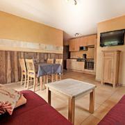 Ferienwohnung mit einer Holzdekowand, einer Essekce und einer Couch, sowie eine Kueche und SAT/TV