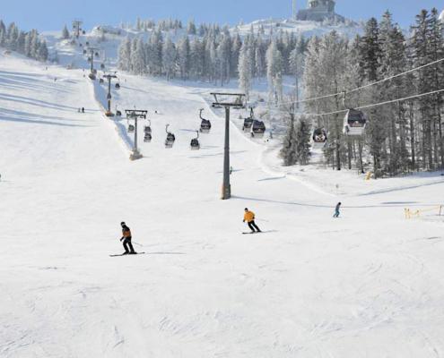 Skihang mit Kabinenlift mit verschneiten Bäumen, sowie einigen Skifahren