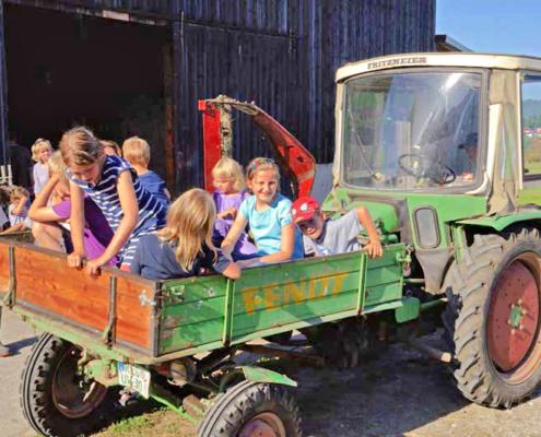 Traktofahrt im Sommer mit vielen Kindern auf der Brücke des Traktors