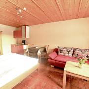 Appartment mit Bett, Schrank, Küche Essecke, Couch und Couchtisch. Zimmer mit einer Holzdecke und Fliesenboden