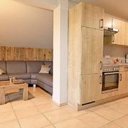 Wohnung mit eingebauter Küche mit Microwelle und Wohnbereich mit Couch und Couchtisch,sowie Polster und Decke