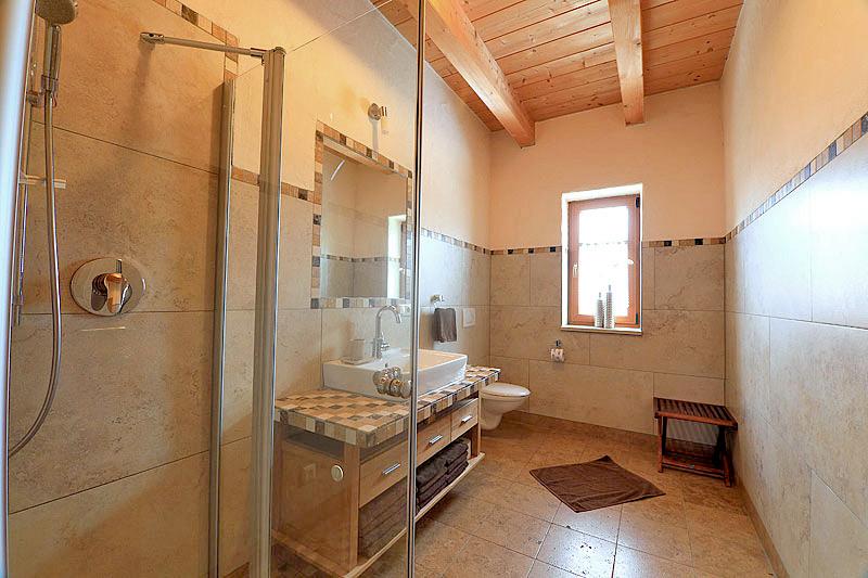Badezimmer mit Dusche, WC und Aussenfenster, Fliesen an Wand und Boden