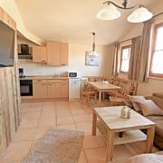 Wohnen mit Küche, Microwelle und Spüilmaschine, Esstisch mit Stühlen und Couch mit Kissen