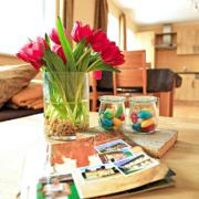 Rote Tulpen, Ostereier und Hausprospekt auf den Tisch, dahinter eine Küche und eine Couch